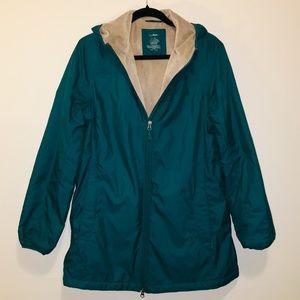 L.L Bean Micropile Fleece-Lined Hooded Rain Jacket